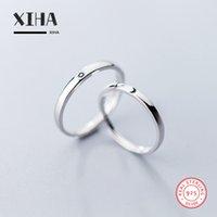 ring lovers man venda por atacado-Simples bonito par alianças de noivado para amantes ajustável Crescent Moon Sun 925 Sterling Silver Ring para homens e mulheres
