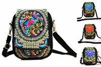 Wholesale handmade crochet handbags for sale - Group buy Chinese Women Handbag Retro Embroidery Ethnic Handmade Flowers Ladies Tote Shoulder Bags Cross body Folk Custom Mobile Phone Mini Bag Wallet