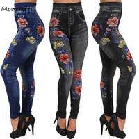 406fc107db844e wholesale Women Leggings Ladies Faux Denim Jeans Seamless Floral Printing  Sexy Full Pants Fashion Slim Pencil Pants Plus