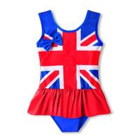 ingrosso baby uk-Bambini UK bandiera americana Costumi da bagno 2019 estate volant Stella stampa striscia Costume da bagno bambino Bikini bambini One Pieces Costume da bagno