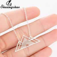 encantos de montaña al por mayor-Shuangshuo Moda Art Deco Triángulo Collar Montaña Encanto Collares geométricos Senderismo Cadena de montaña al aire libre Colgantes Collares