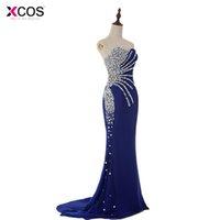 echte probe royal blaue kleider groihandel-Abendkleider Real Sample Günstige Schatz-Nixe-Kristall Royal Blue Chiffon Lange Abendkleider Mode Abendkleider 2016
