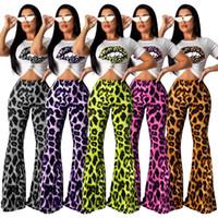 frauen s tops großhandel-Frauen Leopard Lip T-Shirt ausgestellte Hose 2 Stück Sets Trainingsanzug Bell Bottoms Sportswear Crop Tops ärmellose Kurzarm T-Outfits LJJA2882