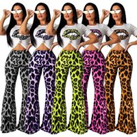 Wholesale purple lip resale online - Women Leopard Lip T shirt Flared Pant Piece Sets Tracksuit bell bottoms Sportswear Crop Tops Sleeveless short sleeve Tee Outfits LJJA2882