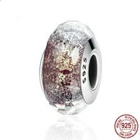 b1876fa6602f NUEVO S925 Plata de ley Azul M-key charm Cuentas de cristal de Murano Fit  European Jewel pandora Charm Pulseras Colgante