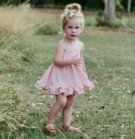 Wholesale kids summer clothing girl 11 online - INS Girl Kids Clothing Summer Girl Pink Suspender Design Sleeveless Dress high quality cotton Girl Princess dress