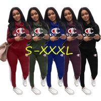 Wholesale women s high collared hoodie online – oversize Women clothing piece set tracksuit Champion brand High Collar Hoodies Pants designer Outfits Junior girls Sportwear Autumn Sweatsuit C8903
