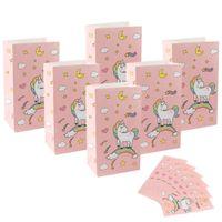 ingrosso borse per feste di compleanno-Borse 36pcs Unicorn confezioni regalo accessori per la Kraft Paper Bag dolci e caramelle Bar imballaggio decorazioni Sacchetti Birthday Party
