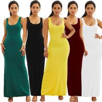 beachwear maxi elbiseleri toptan satış-Kadın Maxi Katı Elbiseler 6 Renkler Yaz Rahat Sundress Kolsuz Straplez Uzun Desses Akşam Beachwear OOA6984