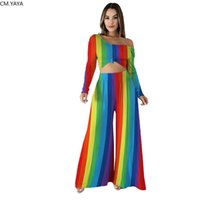 Wholesale stripe rainbow dress for sale - Group buy New Autumn Elegant Women s set rainbow stripes print long sleeve tee top loose Pants Suit Sporting Two Piece Set outfit GL5059
