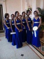 diseños de vestidos de azul real al por mayor-Vestidos de dama de honor azul real Diseño único 2019 Nuevos granos de longitud completa Sirena Vestidos de invitados de boda Vestido de dama menor de honor Personalizado