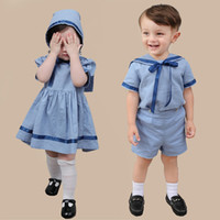 Wholesale clothing for bridesmaids online - Baby Boy Girl Summer Clothes Set Children s Spanish Clothing Outfits Navy Blue Dress for Baby Bridesmaid st Birthday Party