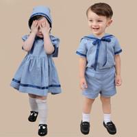 robes de demoiselle d'honneur d'été bleu bébé achat en gros de-Vêtements d'été bébé garçon fille ensemble vêtements espagnols pour enfants tenues 2019 robe bleu marine pour bébé demoiselle d'honneur 1er fête d'anniversaire