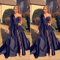 Wholesale long gold occasion dresses online - 2019 One Shoulder Prom Evening Dresses Royal Blue Satin Sweep Train Custom Made Plus Size Prom Party Gown Formal Occasion Wear