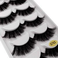 Wholesale best natural false lashes resale online - Best Choice for Distributor Mink Black Natural Thick False Fake Eyelashes Styles Women Eye Lashes Makeup Extension Tools G700