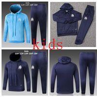 Wholesale boys hoodies online - 2018 OM Olympique de Marseille survetement Kids tracksuit hoodie PAYET THAUVIN training suit Soccer Tracksuit Sets Football