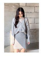 boş etekler toptan satış-V yaka hırka kazak + kalça iki parçalı set 2019 kış Kore eğlence takım elbise kadın etek