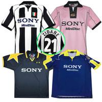 xxl weißes hemd großhandel-Neue Top 95 96 97 98 Juventus White Retro Zidane Fußball Trikot 1997 1998 Meisterliga Juventus Vintage Fußball Trikots 97/98 Fußball Trikot