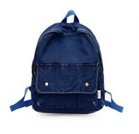 Wholesale bag blue jeans backpack resale online - Women Vintage Denim Backpack Female Korean Jeans College Student Bag Ins Canvas Gir Bagpak For Back To School Bagpack Backbag