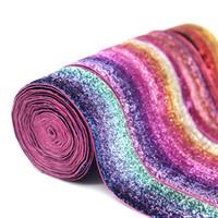materiais para costura venda por atacado-IY Vestuário Costura tecido Fitas 5Yard brilhante Rainbow Glitter Dobre fita para o casamento Decor material DIY Vestuário Costura elástico ...