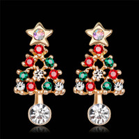 Wholesale kc gold color for sale - Group buy New Delicate Stars Christmas Tree Stud Earrings For Women Fashion KC Gold Color Full Colorful CZ Zircon Earring Xmas Gifts DB