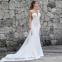 fotos de senhoras sexy tamanho maior venda por atacado-Sereia Vestidos De Casamento 2019 Lace Apliques De Praia Vestido De Noiva Vestido De Casamento Vestidos De Noiva Plus Size