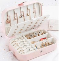 Wholesale jewelry display travel case resale online - Woman Jewelry Storage Box Imitation Leather Travel Ring Necklaces Storage Cases Gift Makeup Organizer Display Caskets New TTA1978