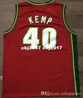 Wholesale throwback basketball shorts resale online - NCAA Cheap Throwbacks Shawn Kemp Jersey Mitchell Ness Retro Mens Stitched White Green Red basketball Jerseys XS XL
