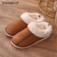 f72c67f78f79 RASMEUP Women Winter Warm Indoor Slippers 2018 Adults Women s Letter  Printed Plush Flip Flops Home Shoes Cotton Home Slippers