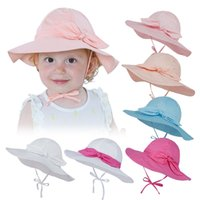 Wholesale baby girl bucket hats resale online - Kids Girls Beach Bow Hats Toddler Bucket Caps Baby Cartoon Printed Sunhat Children Fisherman Hat Baby Visor Hats Colors M2477