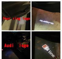 carro led logotipo projetor audi venda por atacado-2x led porta do carro bem-vindo luz laser projetor logotipo sline para audi a1 a5 a6 a6 a8 ai a3 b6 b6 c5 80 A7 Q3 Q5 Q7 TT R8 sline