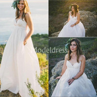 Wholesale empire style wedding dress chiffon for sale - Group buy Bohemian Country Style White Wedding Dresses Spaghetti V Neck A Line Soft Chiffon Sweep Train Sleeveless Beach Bridal Gowns robe de mariée