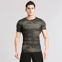 Wholesale men sport t shirts for sale - Group buy Short sleeved tights fitness clothes men s sports outdoor camouflage tights perspiration dry clothes basketball running T shirt ZZA694