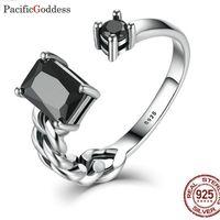 Wholesale black bijou resale online - Sterling Silver Ring CZ for Women Christmas Gift Jewelry black stone sharp rings Adjustable size bijou