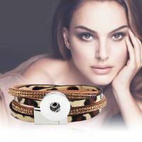 ingrosso braccialetti di cristallo genuini-Leopardo di cristallo intercambiabile 134 vera originale in vera pelle retro moda 18mm con bottone a pressione gioielli braccialetto di fascino per le donne regalo degli uomini