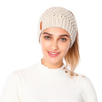 Wholesale crochet football hat resale online - Knitted Ponytail Beanie Solid Adult Crochet Hat Winter Caps Women Skullies Beanies Warm Skullies Caps LJJO7091