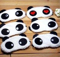 uyku için göz kalemleri toptan satış-Rahat Yumuşak Kadife Gölgeleme Uyku Maskeleri Sevimli Panda Göz Kalkanlar Karikatür Siperliği Toptan