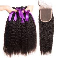 insan saçı kek tıkanıklığı toptan satış-İnsan Saç Paketler Yaki Saç Paketler Kapatma Kinky Düz 4x4 İsviçre Dantel Kapatma ile 4 Adet / Çanta Brezilyalı Kinky Düz Saç Paketler
