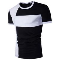 ingrosso giunto rapido-Tee Shirts Homme Large Size Joint Personality Slim Fit colletto tondo in cotone Quick Dry a tre colori Camicie da uomo
