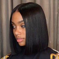 Wholesale Brazilian Human Hair Straight Natural Color Short Bob Wigs Lace Front Human Hair For Black Women Wigs