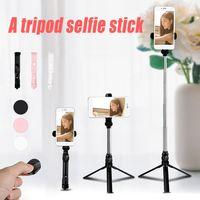 self portre selfie el çubuğu toptan satış-XT10 Özçekim Sopa Bluetooth Mini Tripod Özçekim Sopa Uzatılabilir El Öz Portre ile iPhone Android için Bluetooth Uzaktan Deklanşör