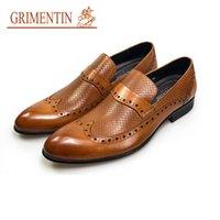 оранжевые формальные туфли оптовых-2019GRIMENTIN мода оксфорды мужские туфли скольжения на оранжевой натуральной кожи формальные бизнес мужской обуви