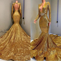 Wholesale cheap prom dresses online - Mermaid Backless Prom Party Dresses Cheap V neck Long Sleeves Sequined Bling Bling Bead Floor Length Evening Wear Gowns