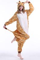 pyjama girafe adultes achat en gros de-Adulte girafe Santa Claus Kigurumi Pyjamas Flanelle de Bande Dessinée Mignon Onésies Halloween Partie De Famille Cosplay Costumes Combinaisons Pyjamas