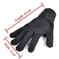 Wholesale safety wire mesh for sale - Group buy Black Proof Protect Stainless Steel Wire Safety Gloves Cut Metal Mesh Butcher Anti cutting breathable Work Gloves