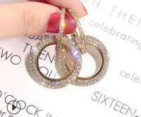 Wholesale 925 silver swarovski earring resale online - New Designer silver needle rhinestone circle crystal from Swarovski long earrings temperament Korean personality wild earrings