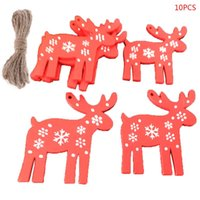 Wholesale diy home decor accessories for sale - Group buy 10pcs set Christmas Tree Wooden Tag Star Deer Angel Ornament Pendant Xmas Party Home Decor DIY Accessories