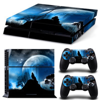 vinilo ps4 al por mayor-Skull Lion Wolf Pegatina de vinilo estilo madera para Sony PS4 Consola PlayStation4 y 2 controladores para skin