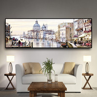 Wholesale art oil painting venice resale online - Abstract Venice City of Water Oil Painting on Canvas Resort Boats Buildings Cuadros Posters and Prints Wall Art for Living Room
