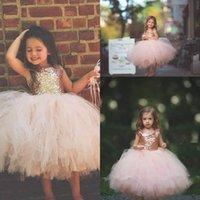 vestidos infantiles de oro del desfile al por mayor-Blush Pink Tutu Toddler Infant Flower Flower Vestidos Sparkly Rose Gold Lentejuelas Princesa Primera Comunión Fiesta de bodas Girls Vestidos del desfile